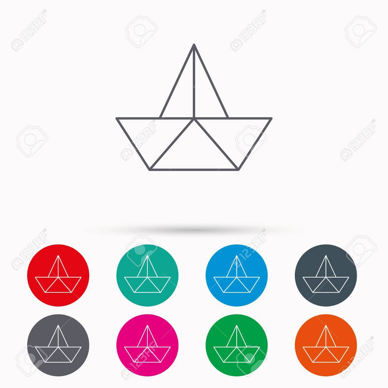 Paper boat icon origami ship sign sailing symbol linear icons paper boat icon origami ship sign sailing symbol linear icons in circles on buycottarizona
