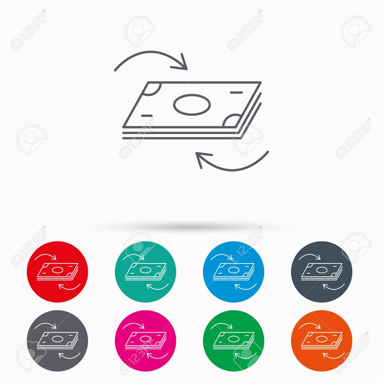 Money Flow Icon Cash Investment Sign Currency Exchange Symbol