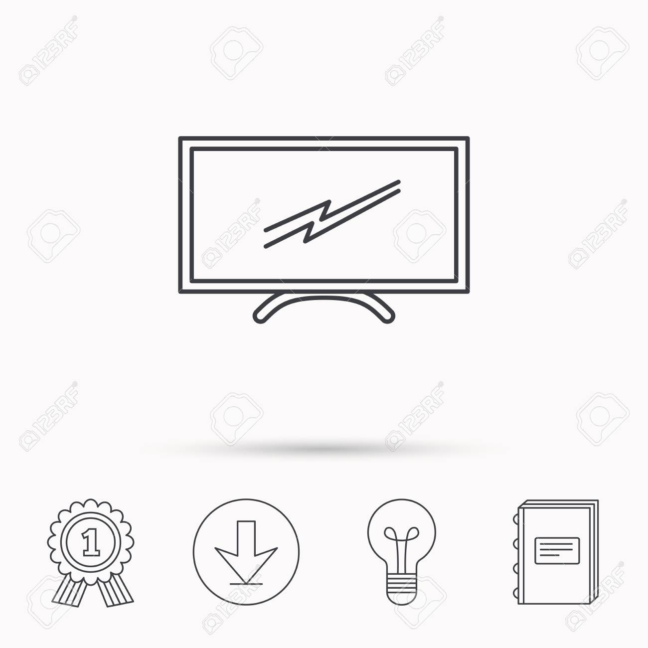 Lcd Tv Icone Led Signe Du Moniteur Widescreen Symbole D Affichage
