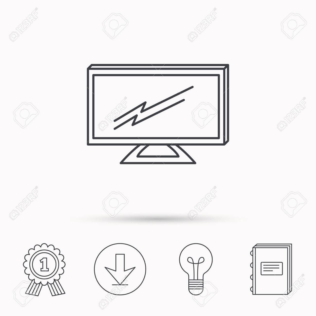 Lcd Tv Icon. Led Monitor Sign. Widescreen Display Symbol. Download ...