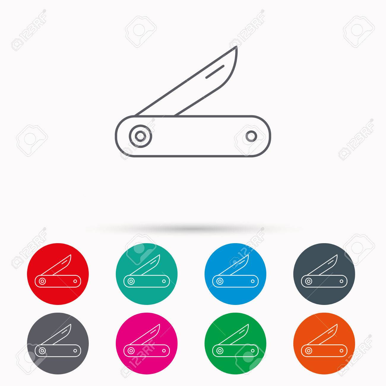 f9df59a92d Banco de Imagens - Multitool knife icon. Multifunction tool sign. Hiking  equipment symbol. Linear icons in circles on white background.
