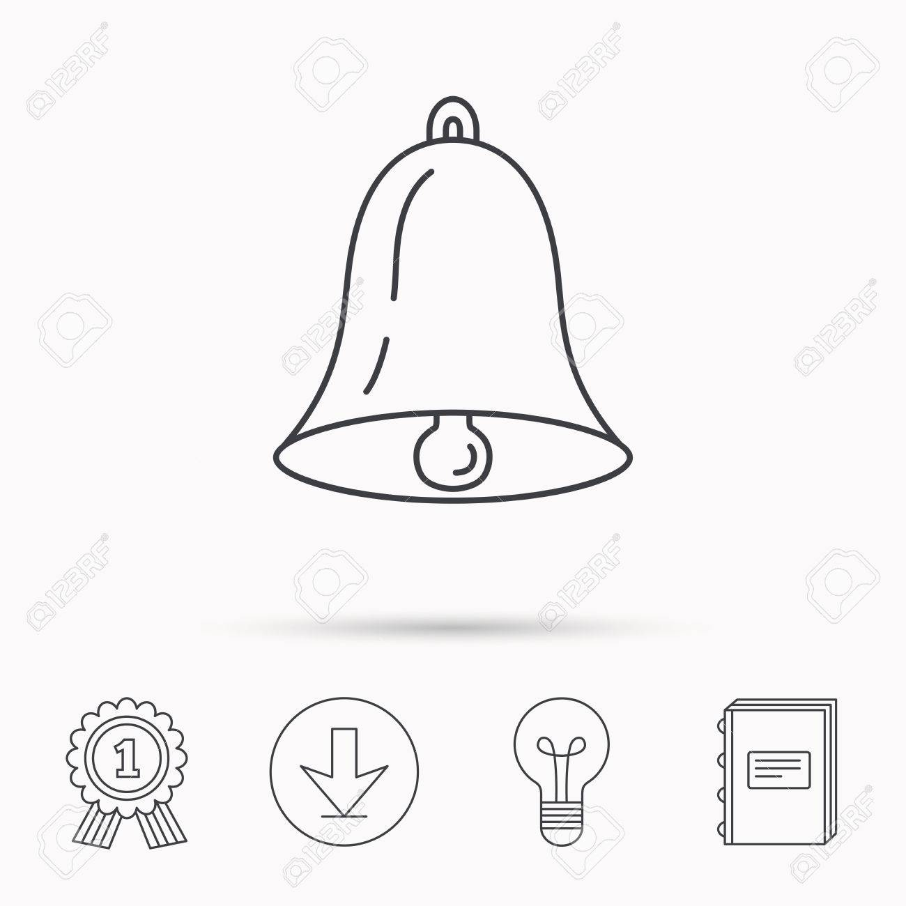 Bell icon  Sound sign  Alarm handbell symbol  Download arrow,