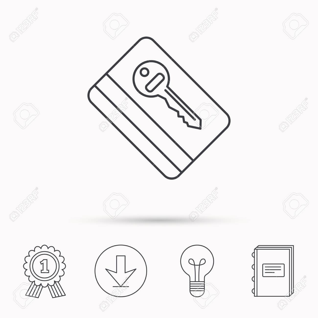 Electronic key icon  Hotel room card sign  Unlock chip symbol