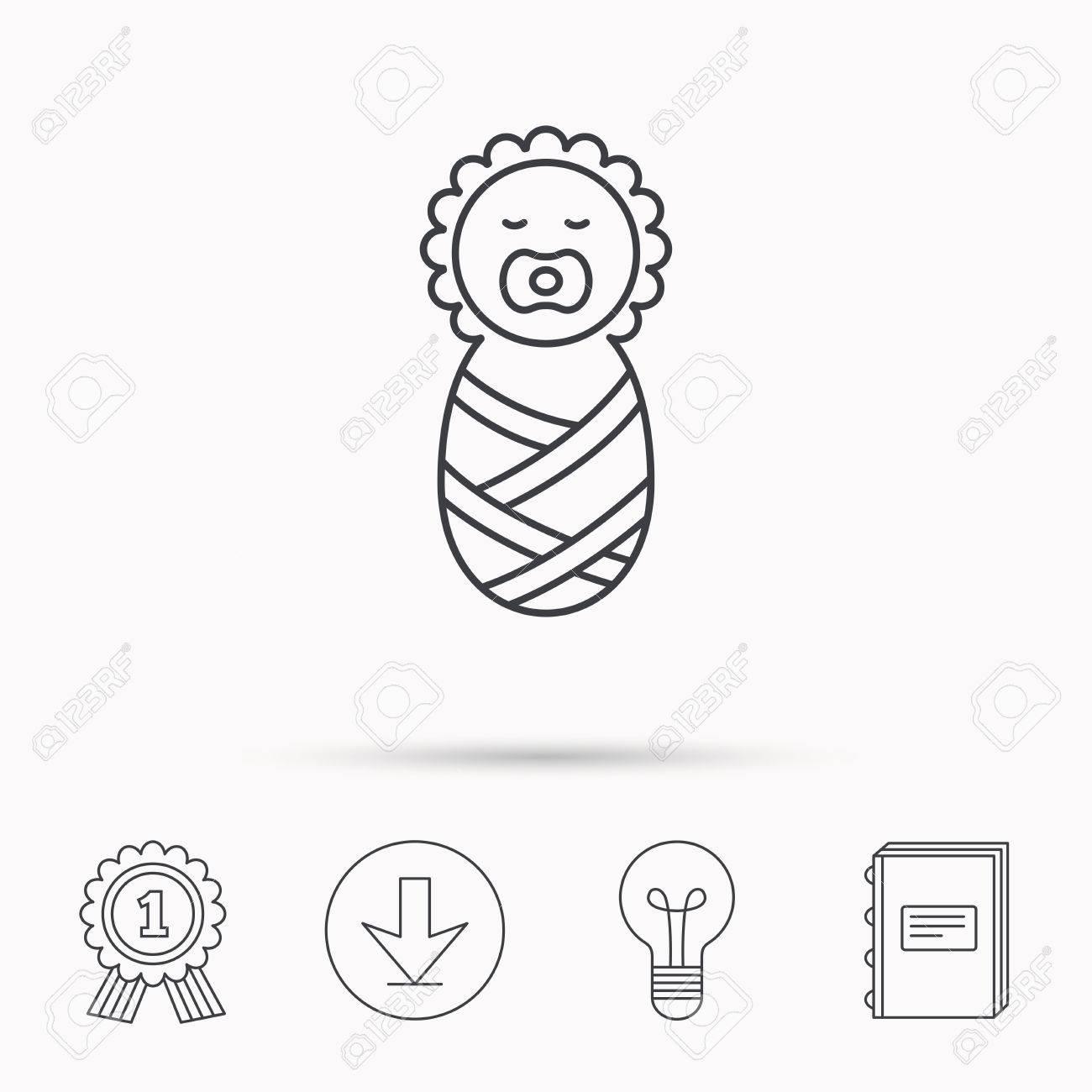 Icono De Bebé Recién Nacido. Signo Del Niño. Niño Envuelto En Una ...