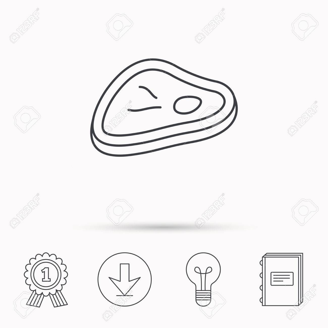 Meat icon  Beef steak sign  Barbecue meat slice symbol  Download