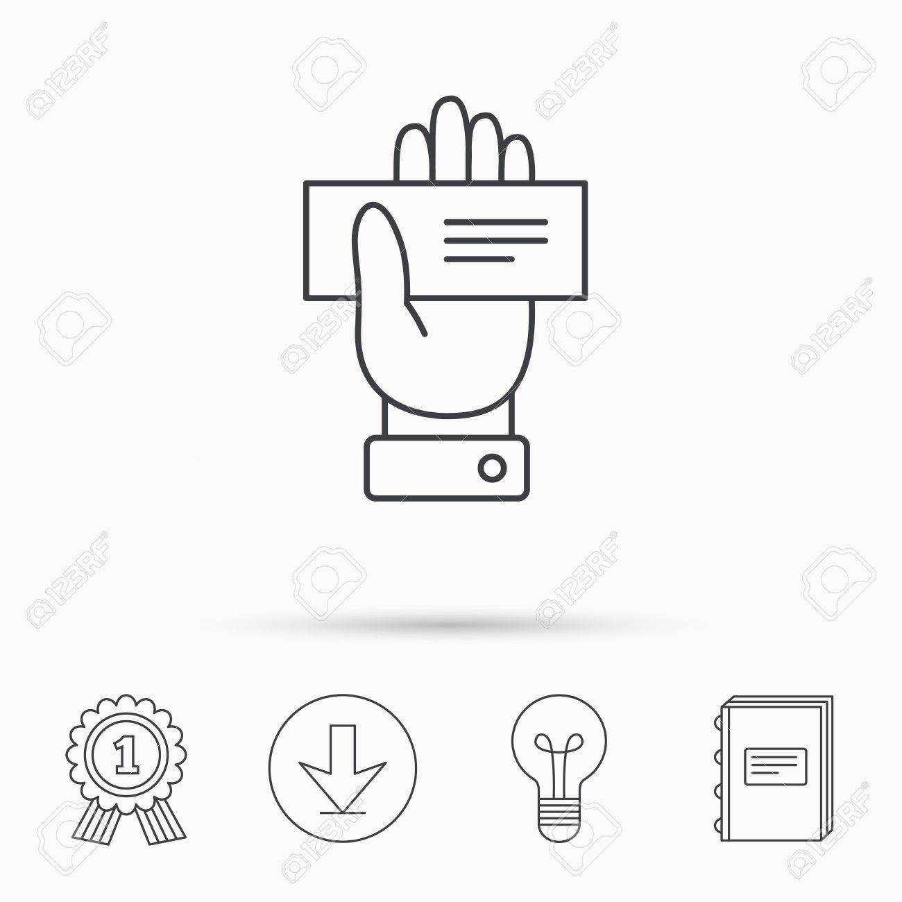 Cheque Icon Giving Hand Sign Paying Check In Palm Symbol Download