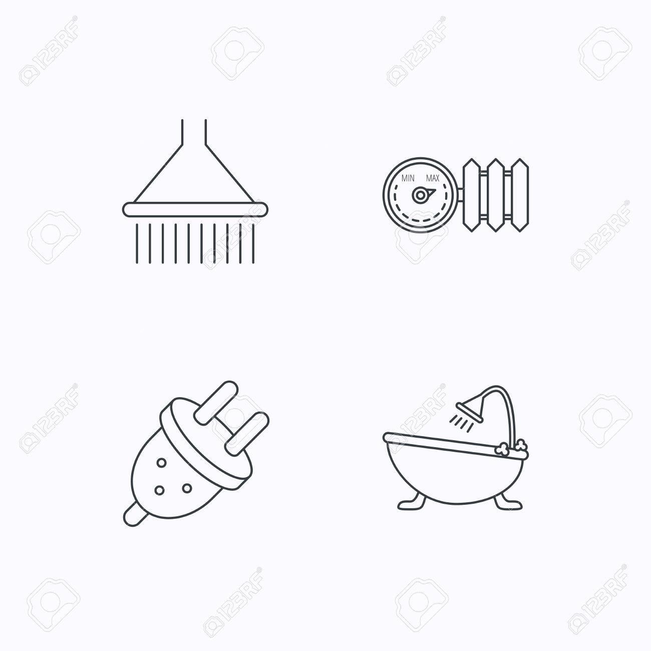 Dusche Badewanne Und Elektrische Stecker Symbole Heizkorper Mit
