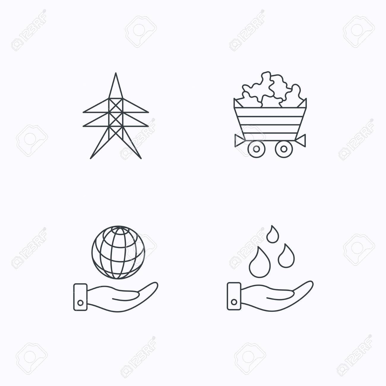 Save water planet and electricity station icons minerals linear
