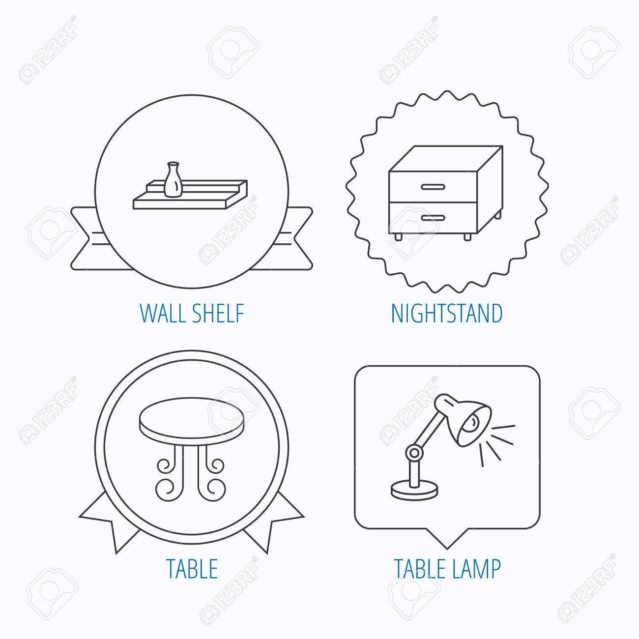 Table Vintage Lampe Et Table De Chevet Icones Etagere Murale Signe