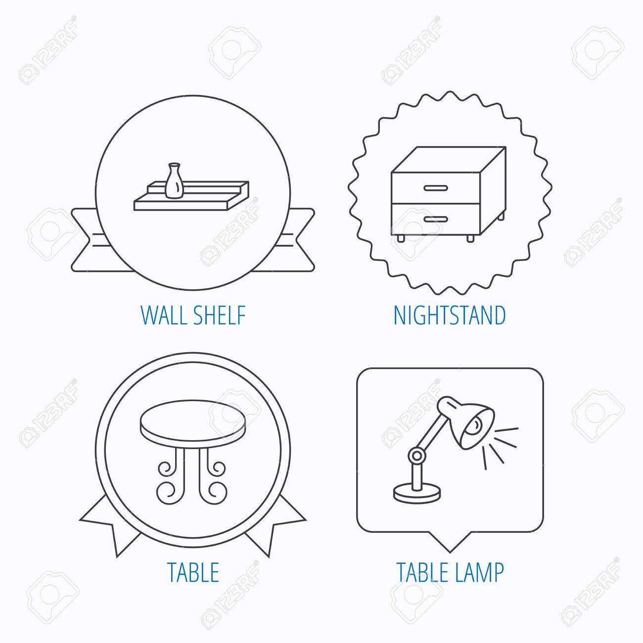 Vintage table lamp and nightstand icons wall shelf linear sign vector vintage table lamp and nightstand icons wall shelf linear sign award medal star label and speech bubble designs vector ccuart Images