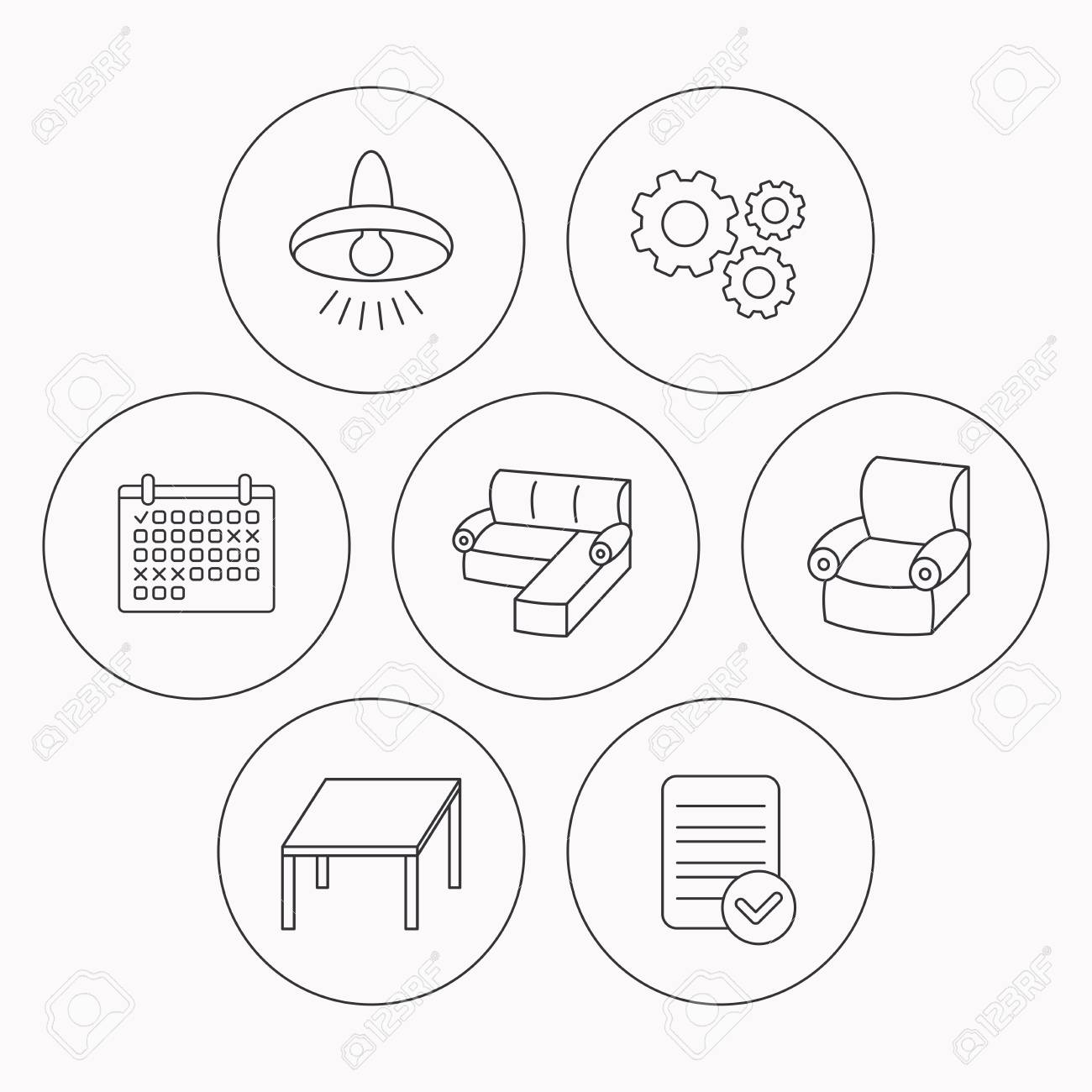 Ecksofa, Tisch Und Sessel Symbole. Deckenleuchte Lineare Zeichen ...