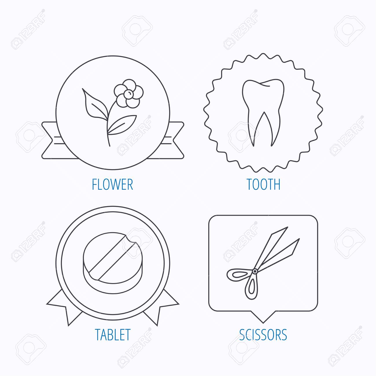 Tooth scissors and tablet icons flower linear sign award medal tooth scissors and tablet icons flower linear sign award medal star label ccuart Choice Image
