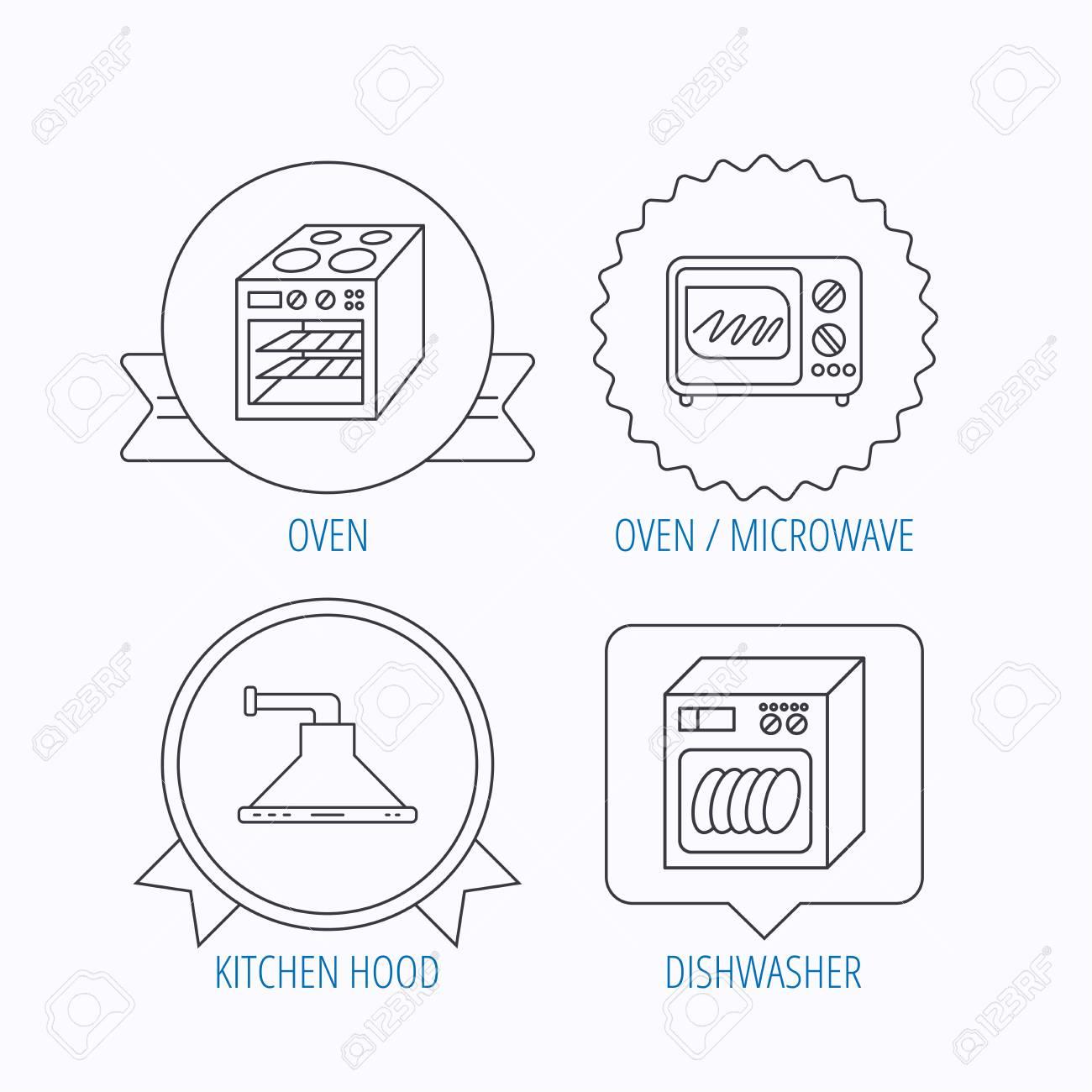 Mikrowelle Geschirrspuler Und Dunstabzugshaube Symbole Ofen