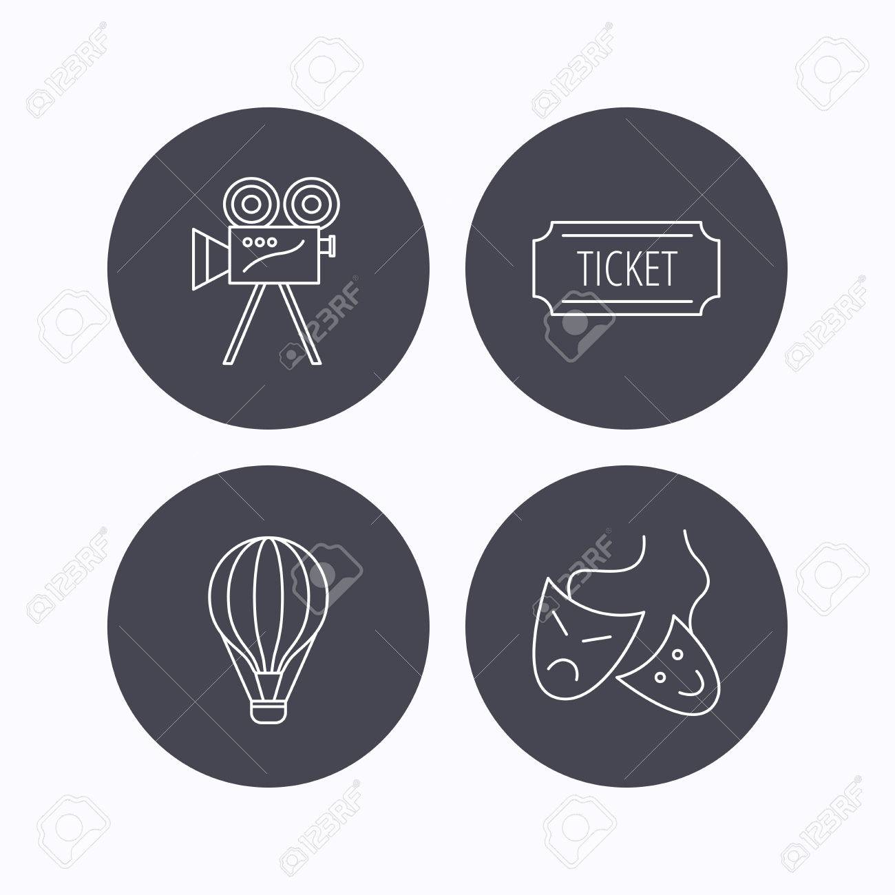 Video camera, ticket and theatre masks icons  Air balloon linear