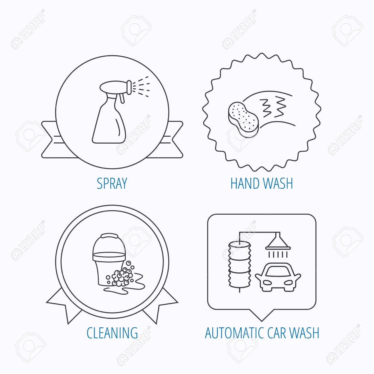 Car wash icons automatic cleaning station linear signs bucket car wash icons automatic cleaning station linear signs bucket with foam bubbles sponge ccuart Choice Image