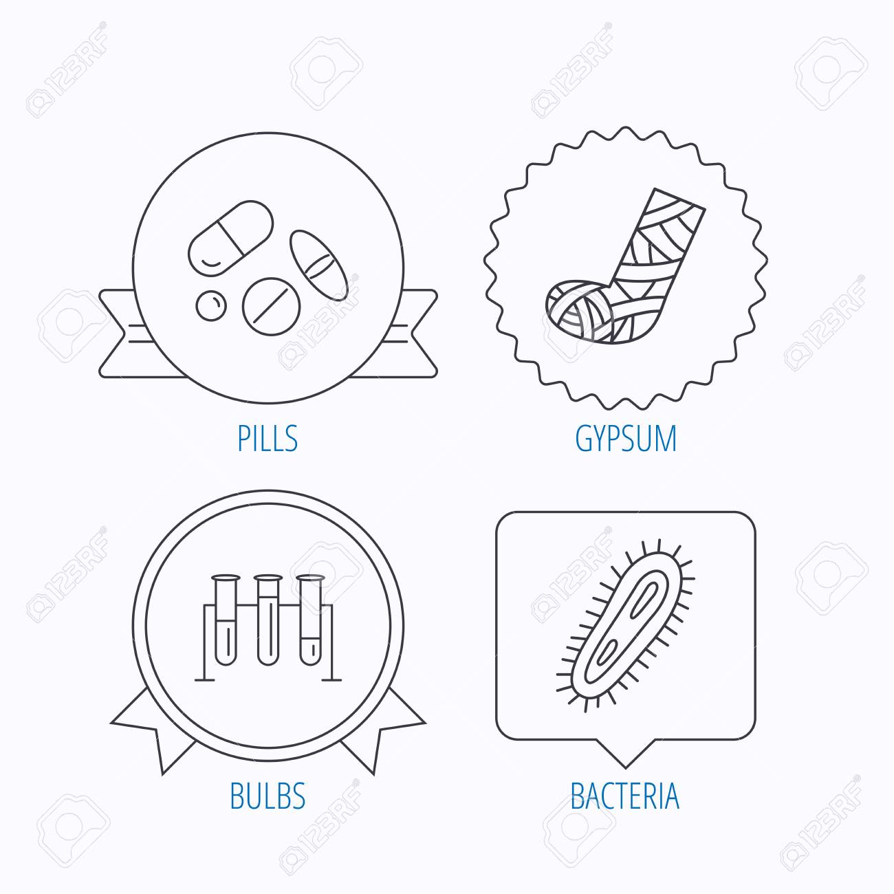 Broken foot bacteria and medical pills icons lab bulbs linear broken foot bacteria and medical pills icons lab bulbs linear sign award medal ccuart Image collections