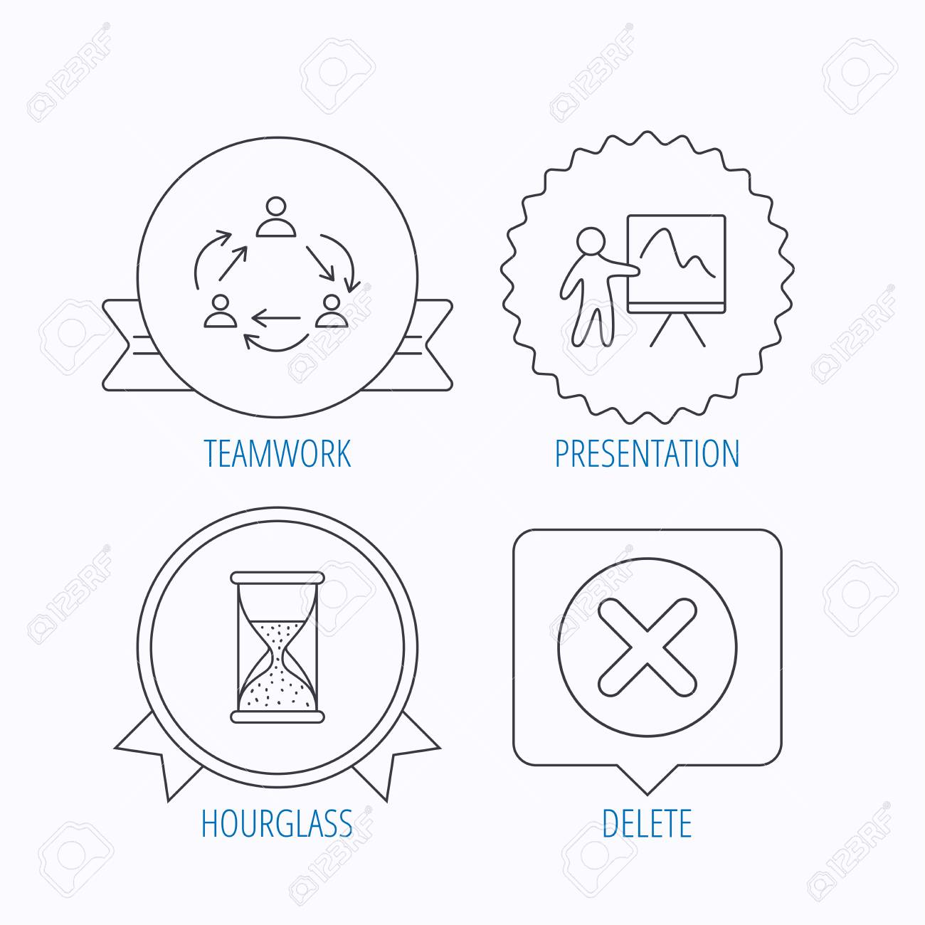 teamwork presentation and hourglass icons delete or remove