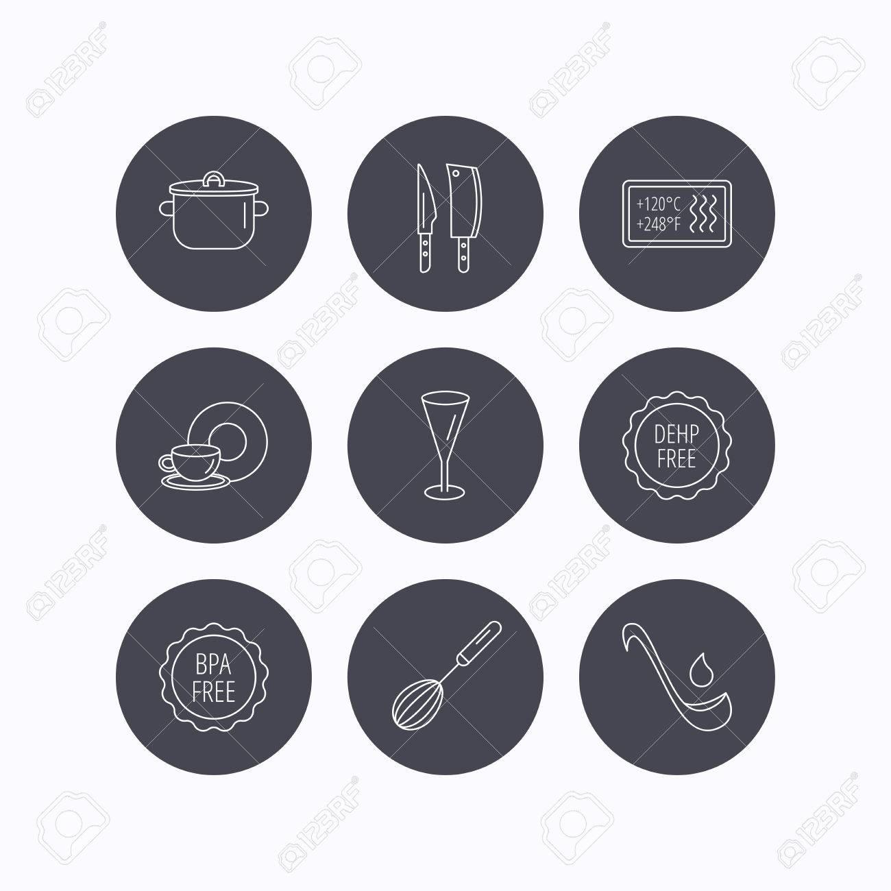 Cuchillos De Cocina, Vidrio Y Los Iconos De La Cacerola. La Comida Y ...
