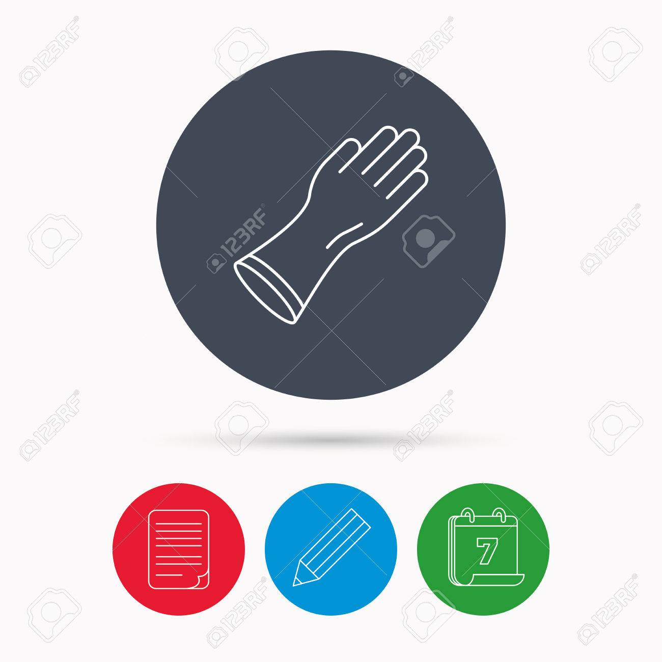 Rubber gloves icon latex hand protection sign housework cleaning vector rubber gloves icon latex hand protection sign housework cleaning equipment symbol calendar biocorpaavc