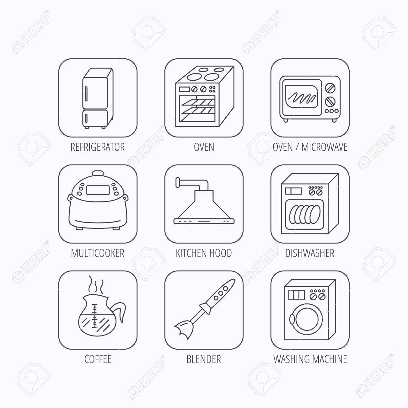 Mikrowelle Waschmaschine Und Mixer Symbole Kühlschrank Kühlschrank
