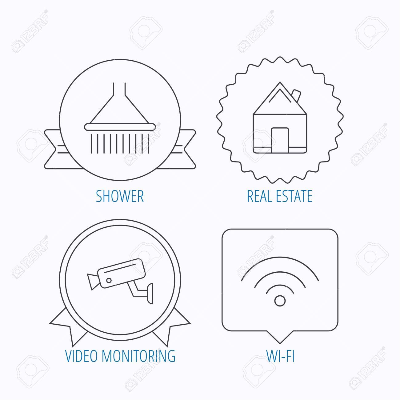 Wireless Lan Videoberwachung Und Immobilien Symbole Dusche Diagram Standard Bild Lineare Zeichen Award Medaille Star Label Sprechblase Designs Vektor