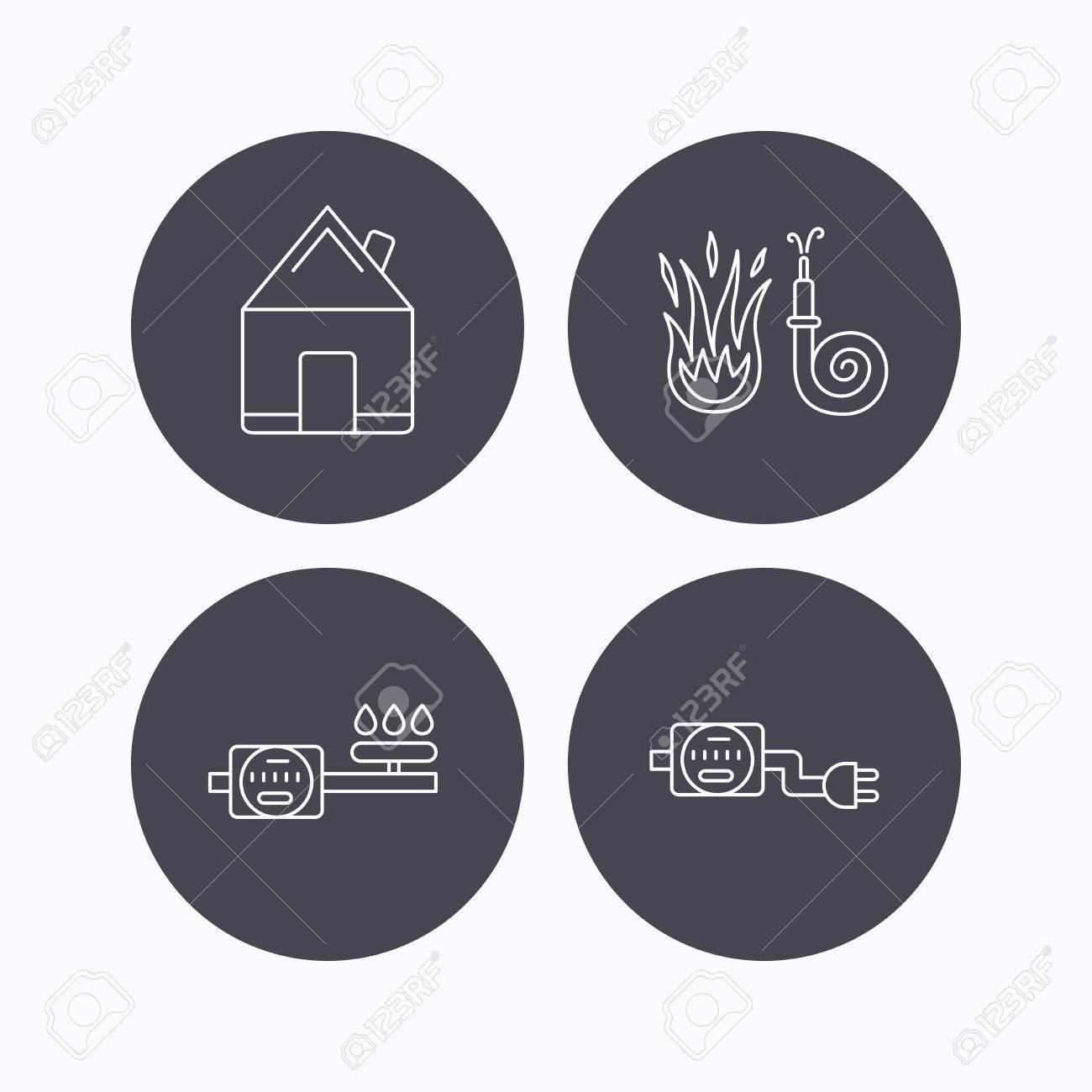 Immobilien, Feuerwehrschlauch Und Gaszähler Symbole ...
