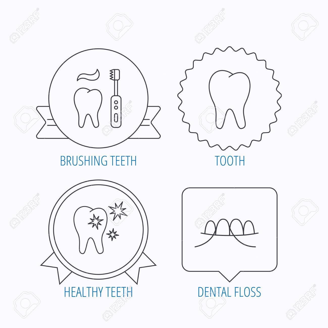 Dental Floss Tooth And Healthy Teeth Icons Brushing Teeth Linear
