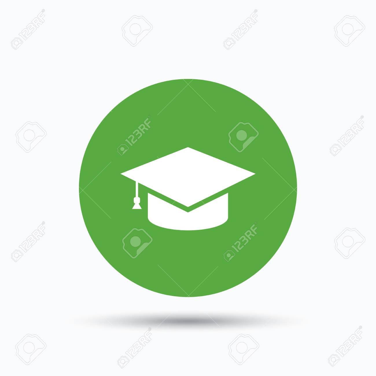 5a09a518300 Education icon. Graduation cap symbol. Flat web button with icon on white  background.