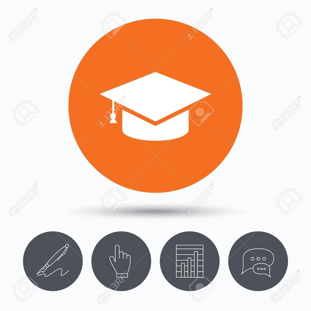 Education icon graduation cap symbol speech bubbles pen hand education icon graduation cap symbol speech bubbles pen hand click and chart biocorpaavc Choice Image