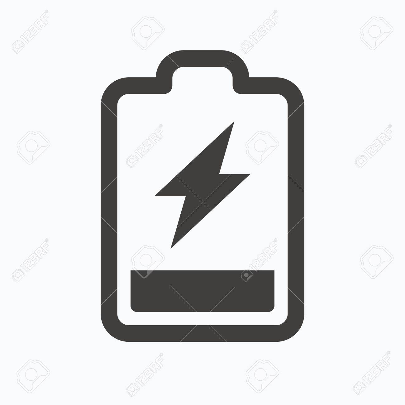Battery Power Icon. Charging Accumulator Symbol. Gray Flat Web ...