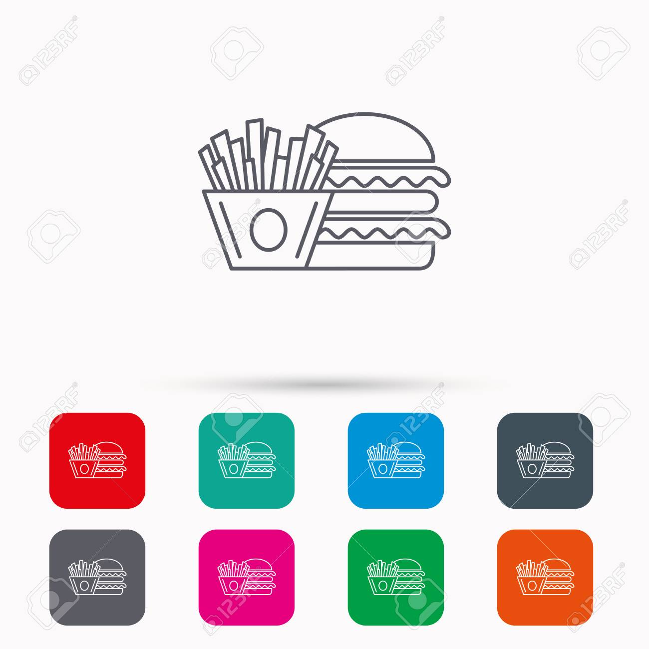 Burger And Fries Icon Chips Sandwich Sign Hamburger Fast Food