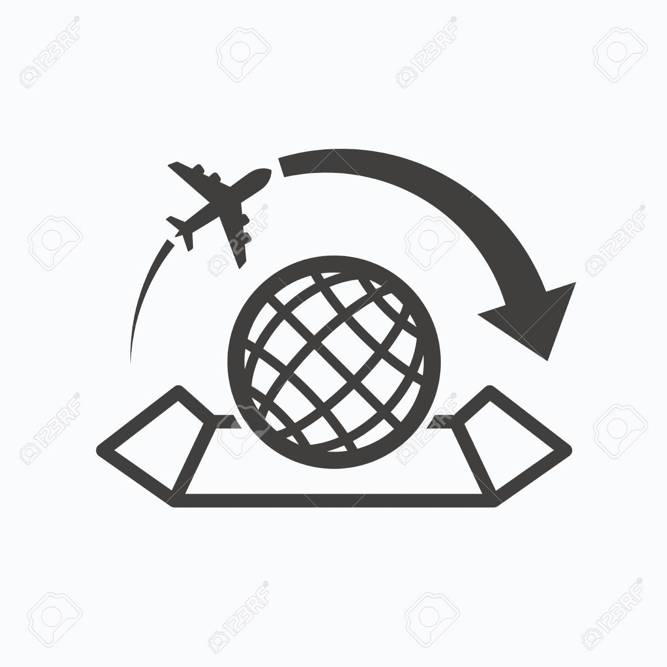World map icon globe with arrow sign plane travel symbol gray vector world map icon globe with arrow sign plane travel symbol gray flat web icon on white background vector gumiabroncs Gallery