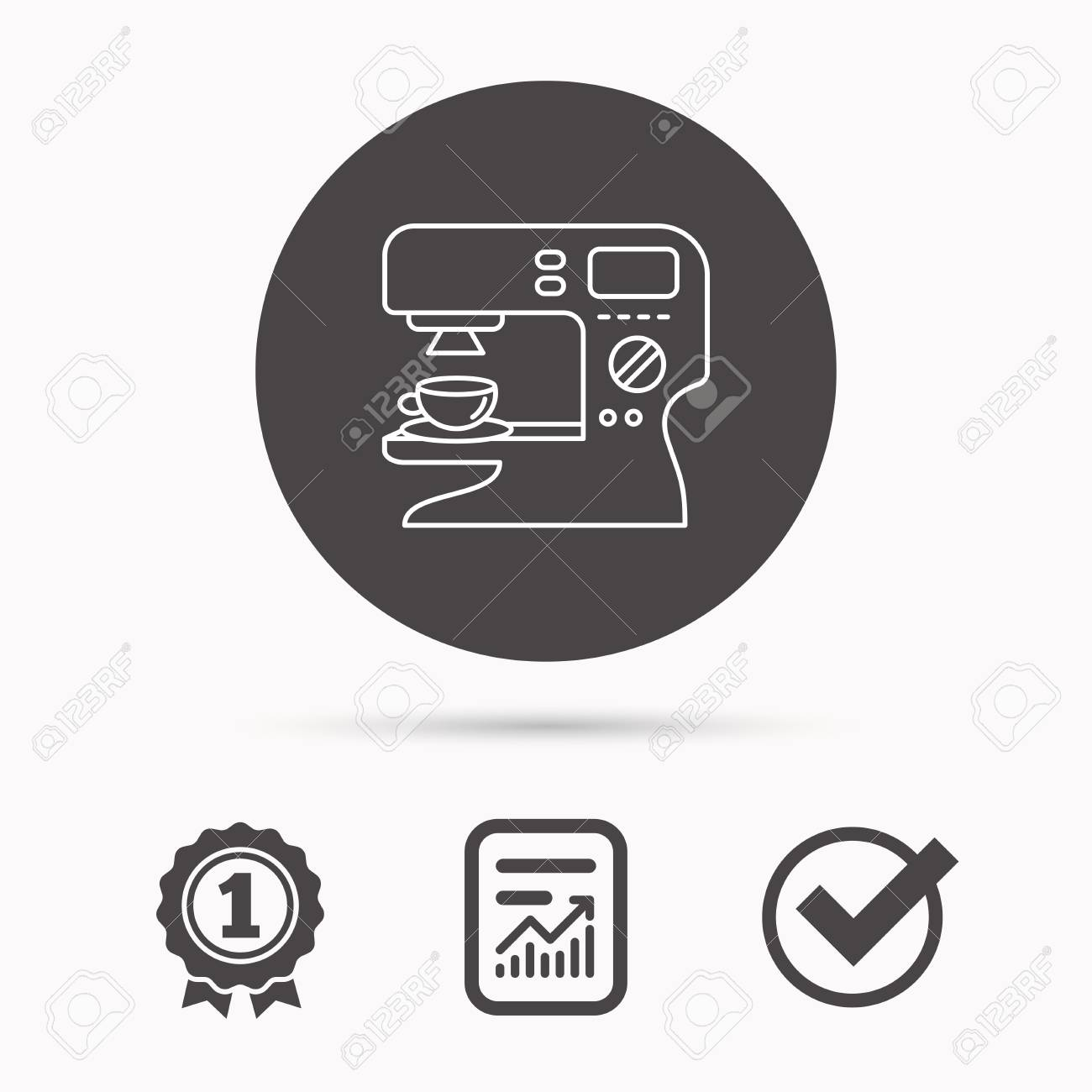 Coffee maker icon  Hot drink machine sign  Report document, winner