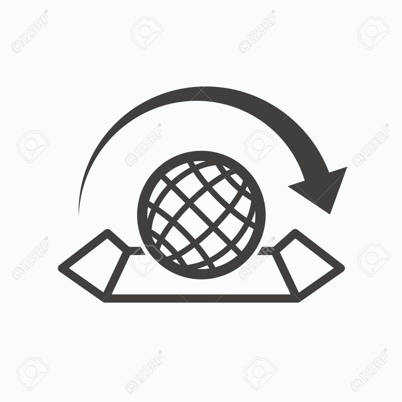 World map icon globe with arrow sign travel location symbol vector world map icon globe with arrow sign travel location symbol gray flat web icon on white background vector gumiabroncs Choice Image
