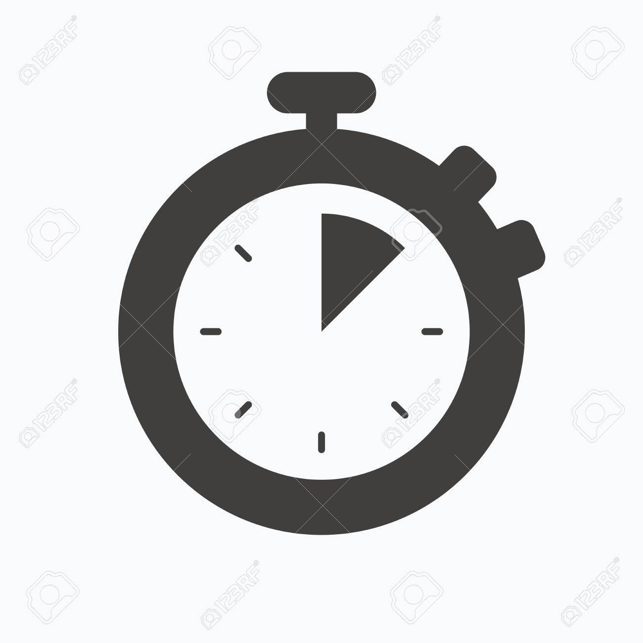 stopwatch icon timer or clock device symbol gray flat web icon