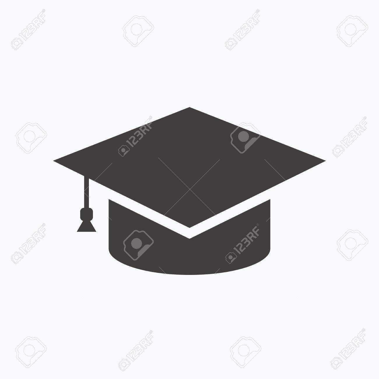 c8c64f5ae8f Education icon. Graduation cap symbol. Gray flat web icon on white  background. Vector