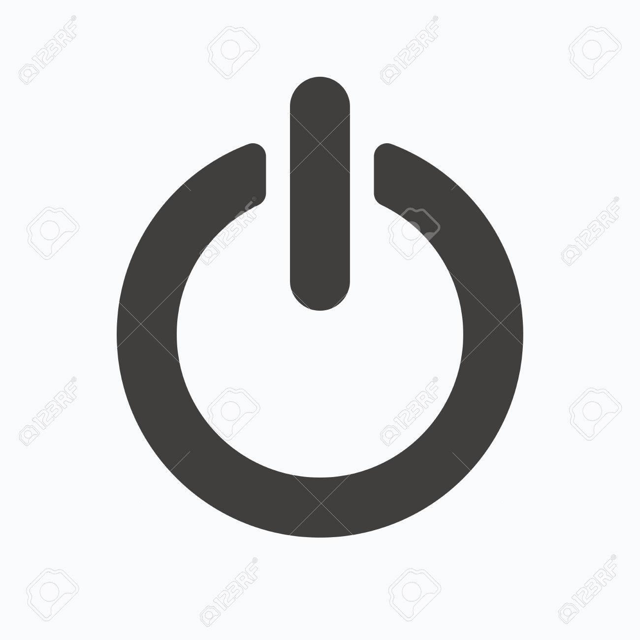 On Off Power Icon Energy Switch Symbol Gray Flat Web Icon