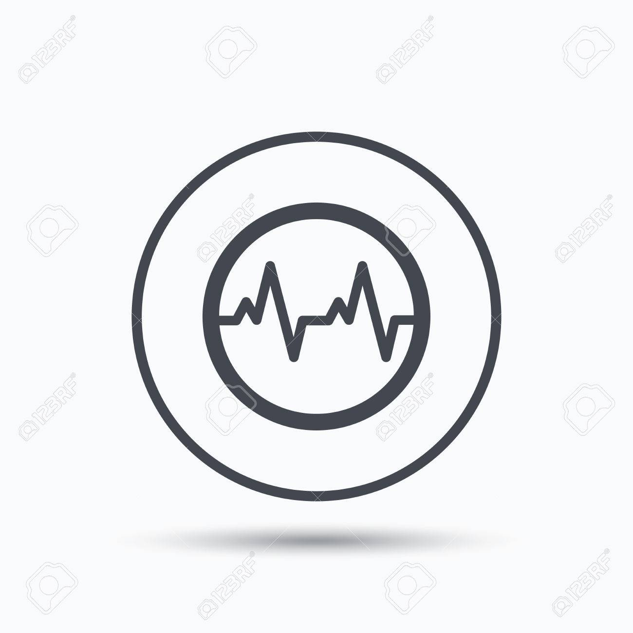 Heartbeat Icon Cardiology Symbol Medical Pressure Sign Circle