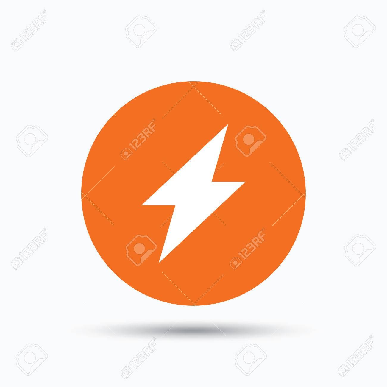 Blitz-Symbol. Elektrizität Energiekraftsymbol. Orange Kreis-Taste ...