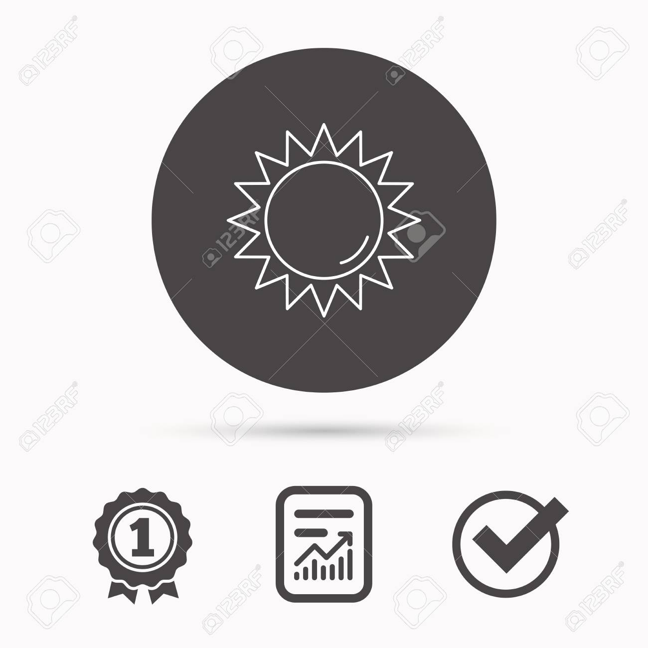 Sun Rays Icon Summer Sign Hot Weather Symbol Report Document
