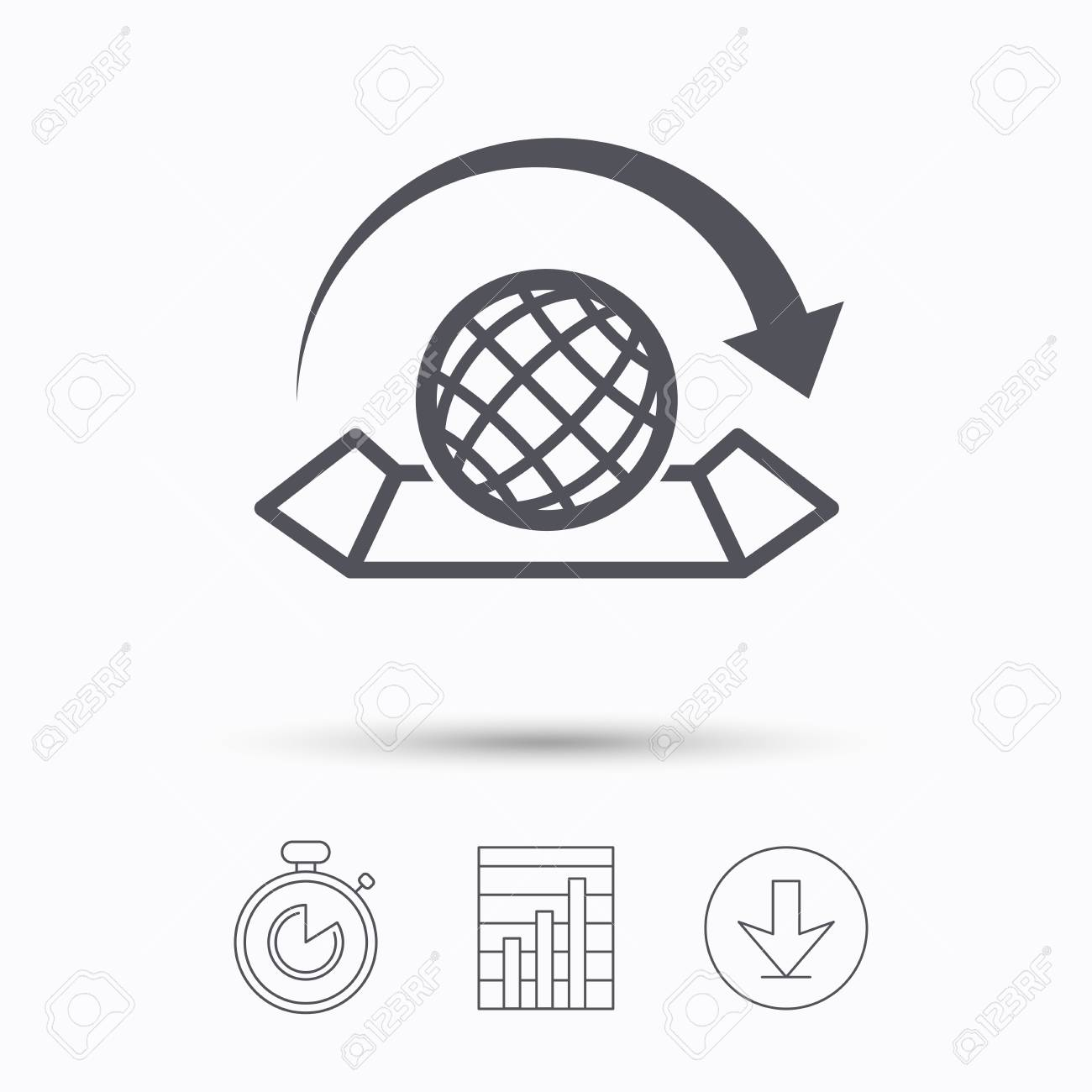World map icon globe with arrow sign travel location symbol vector world map icon globe with arrow sign travel location symbol stopwatch chart graph and download arrow linear icons on white background vector publicscrutiny Image collections