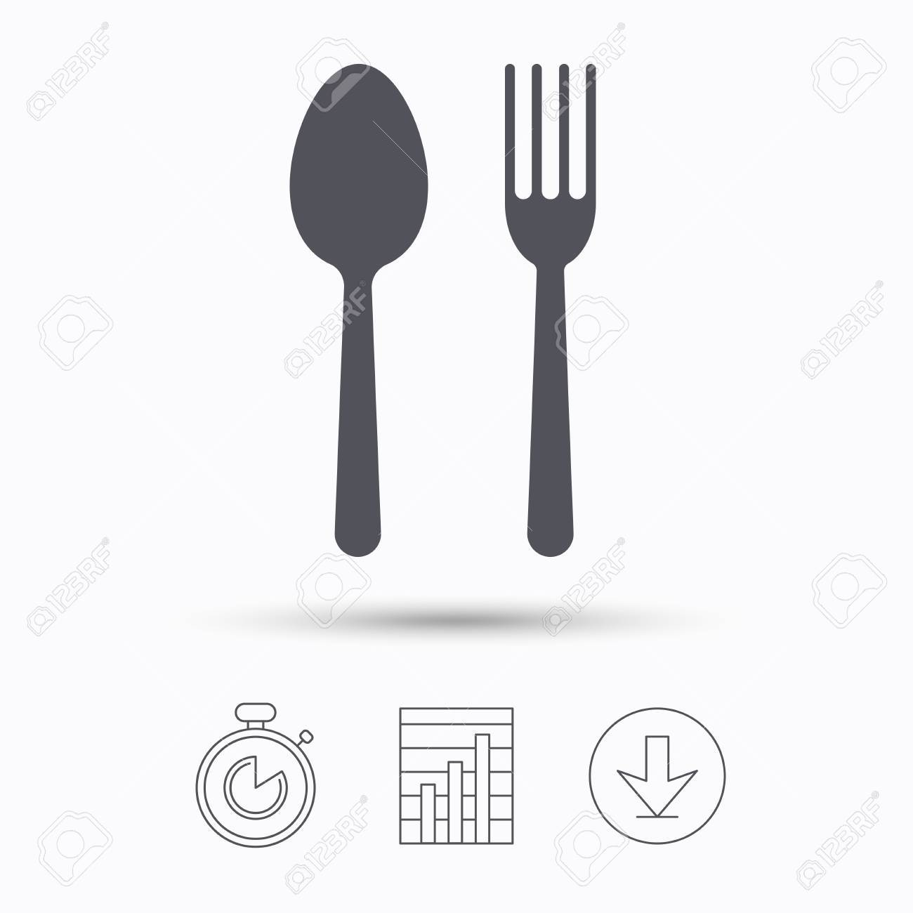 Food Icons Fork And Spoon Signs Cutlery Symbol Stopwatch