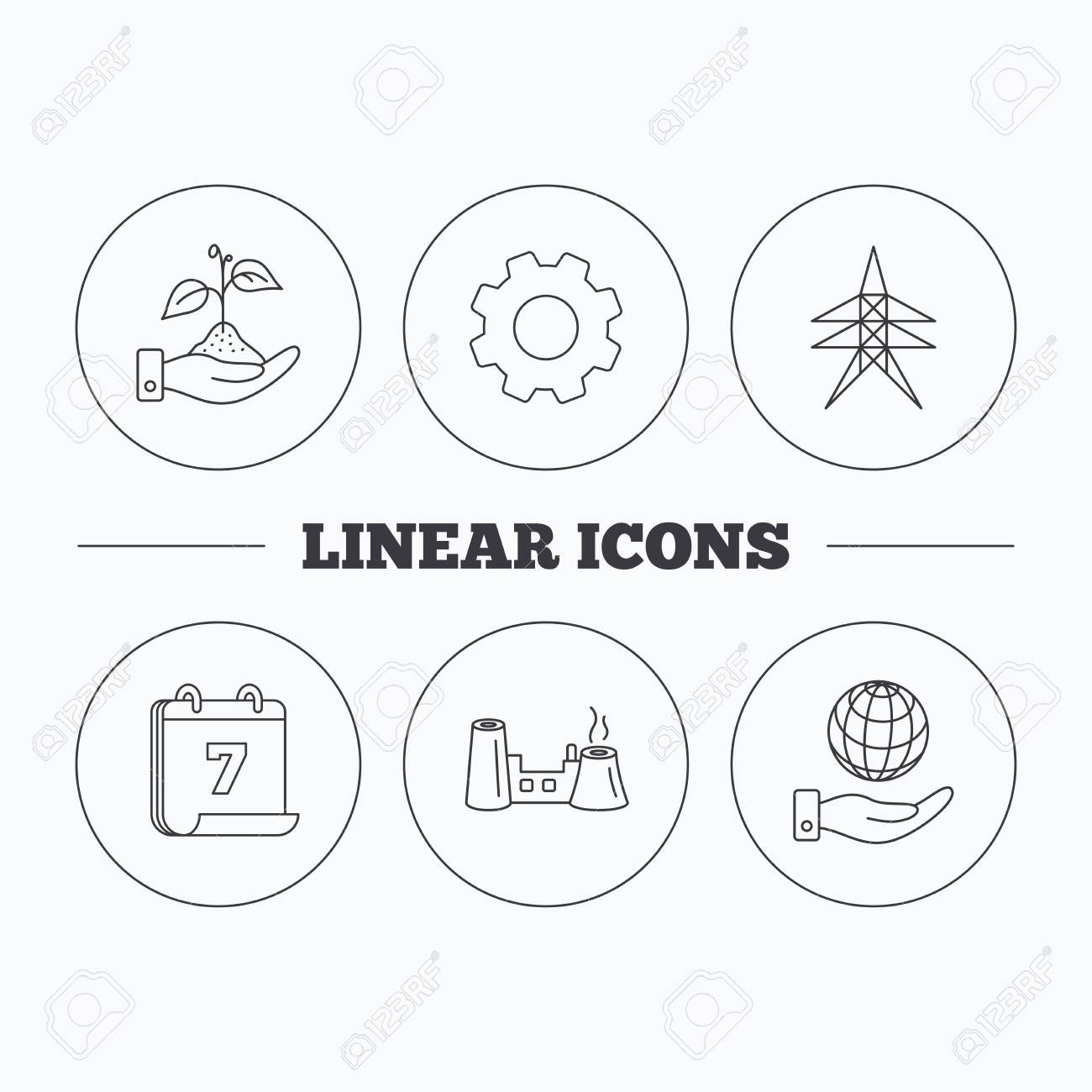 Save Nature, Planet And Factory Icons. Electricity Station Linear ...