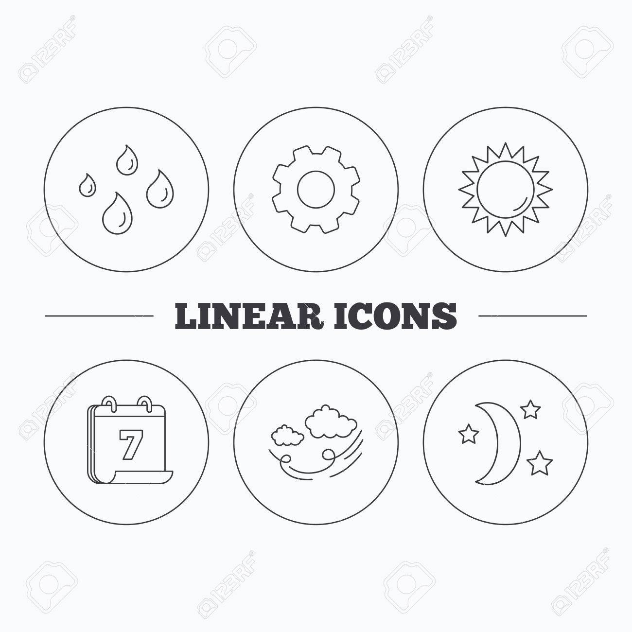 Weather Sun And Wind Icons Moon Night Linear Sign Flat Cogwheel