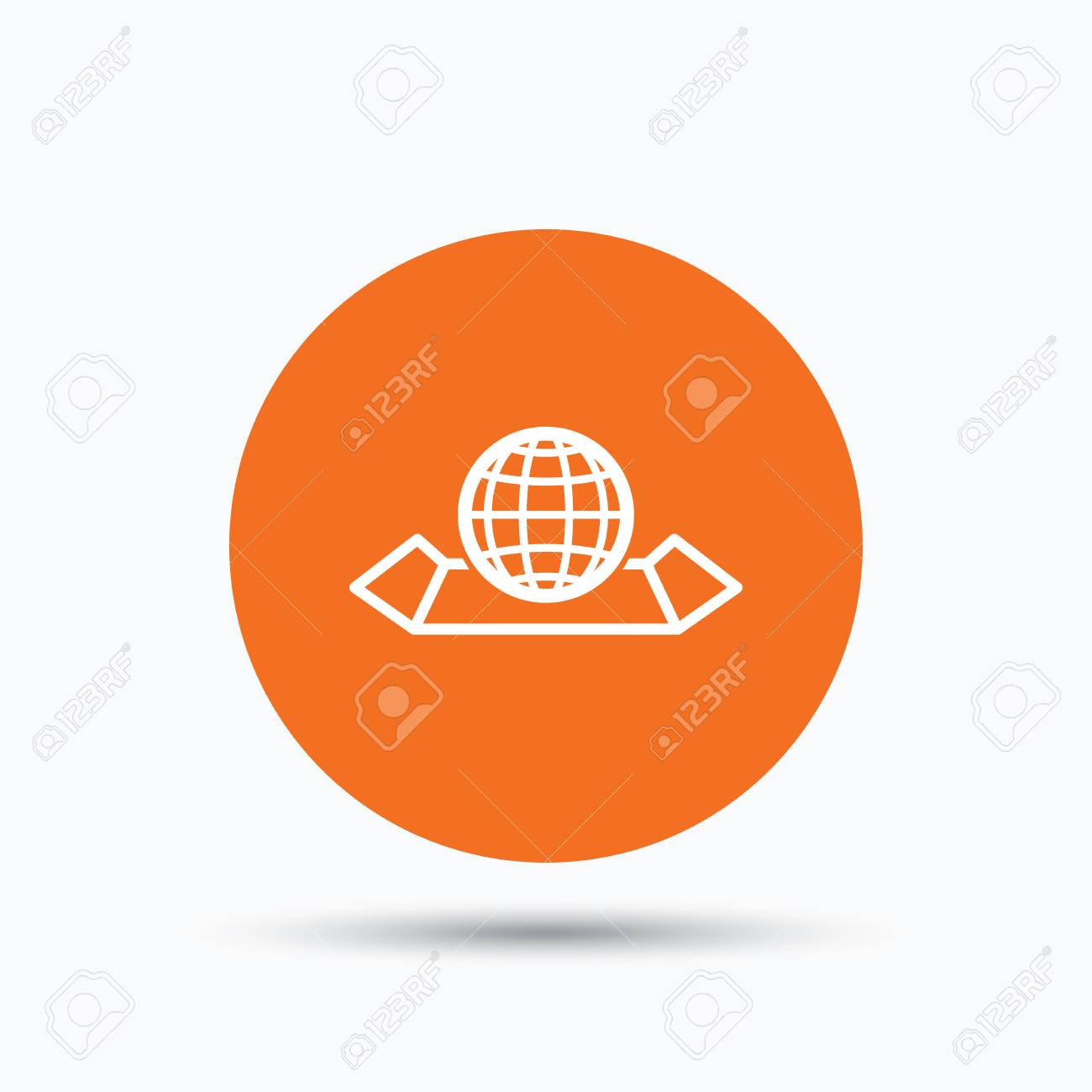 World map icon globe sign travel location symbol orange circle vector world map icon globe sign travel location symbol orange circle button with flat web icon vector gumiabroncs Gallery
