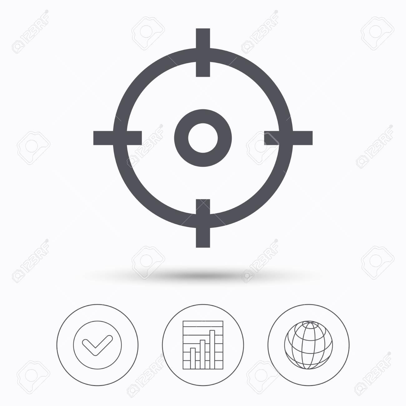 Icono De Destino Símbolo De Puntería De Cruz. Compruebe Tic, Gráfico ...