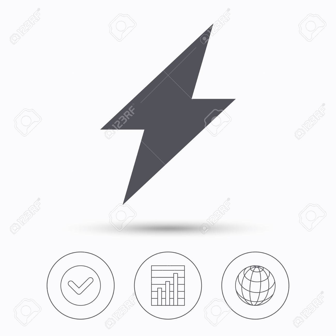 Lightning icon. Electricity energy power symbol. Check tick,..