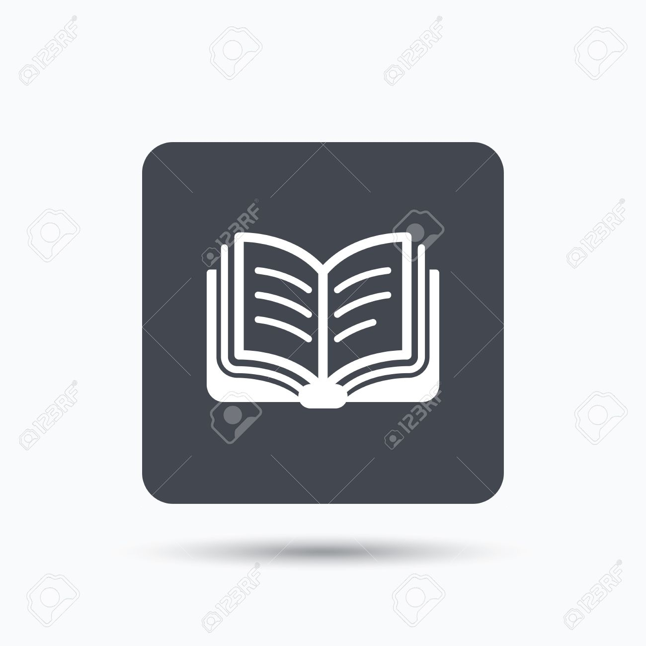 book icon study literature sign education textbook symbol study literature sign education textbook symbol gray square button flat