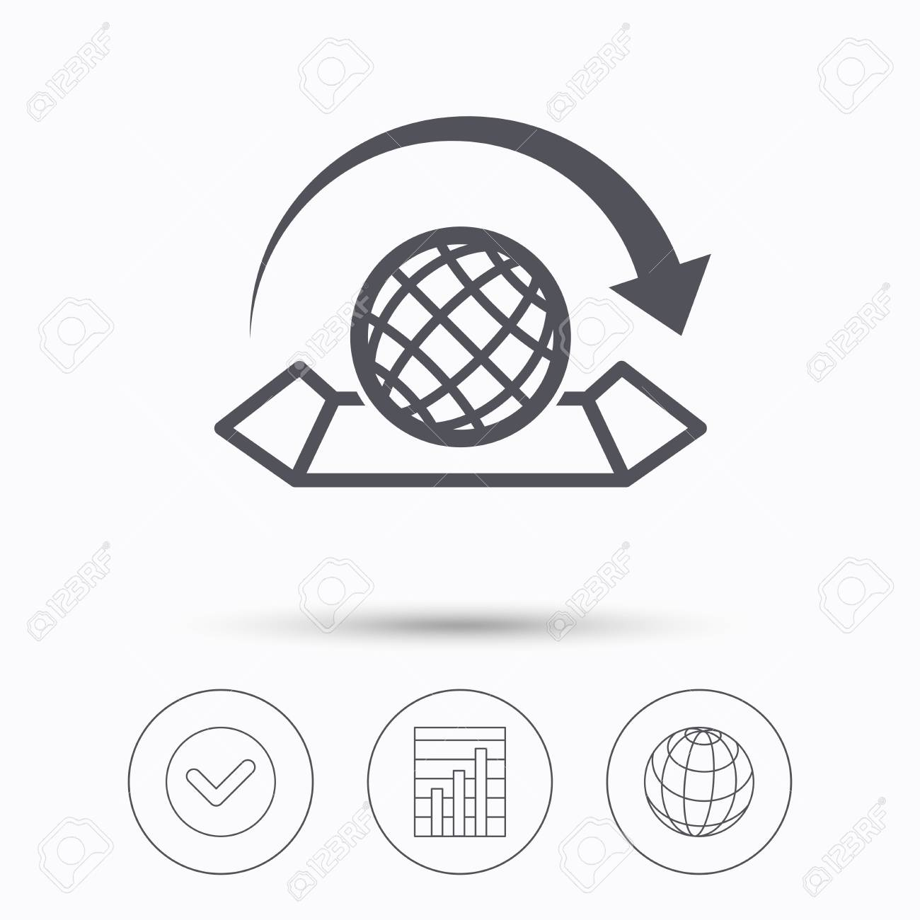 World map icon globe with arrow sign travel location symbol vector world map icon globe with arrow sign travel location symbol check tick graph chart and internet globe linear icons on white background vector gumiabroncs Images