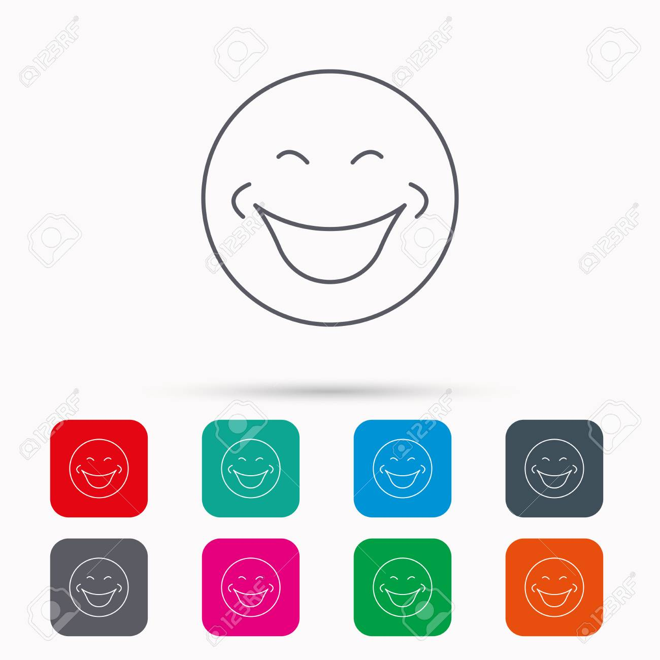 Smile Icon Positive Happy Face Sign Happiness And Cheerful